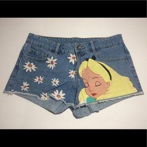 Alice In Wonderland Daisy Disney Denim Shorts